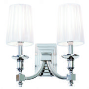 Domina Double Wall Light in Polished Chrome with White Faux Silk Shades - ENDON DOMINA-2WBNI